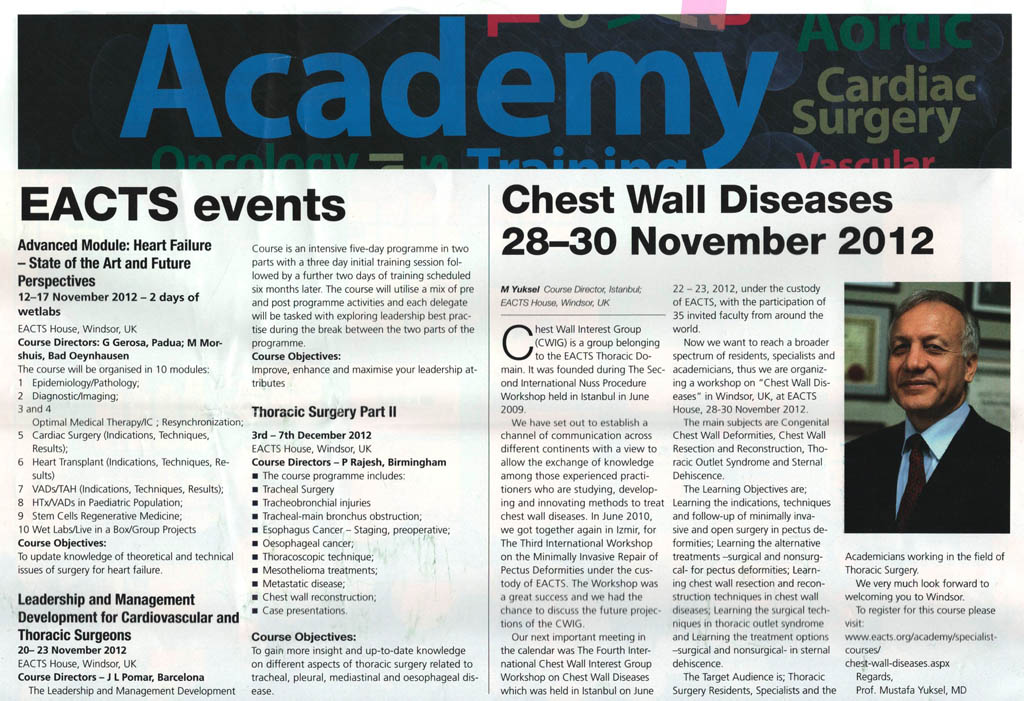 Chest Wall Diseases 28-30 November 2012