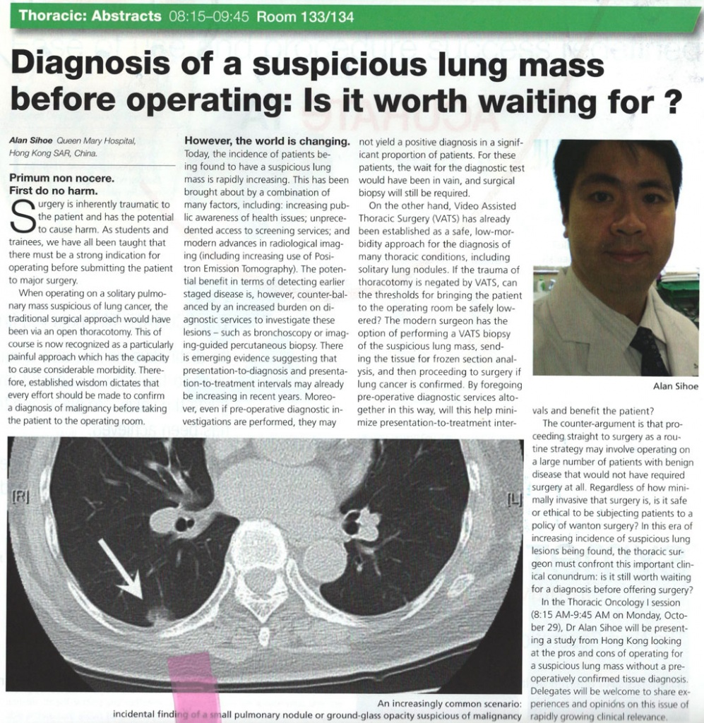 Diagnosis of a suspicious lung mass before operation: is it worth waiting for?